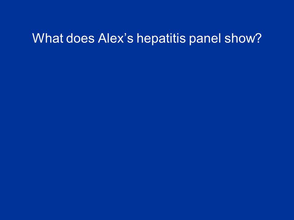 What does Alex's hepatitis panel show?