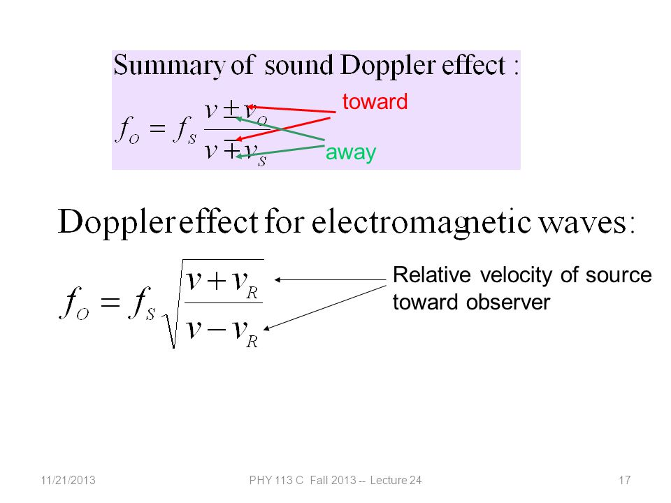 11/21/2013PHY 113 C Fall 2013 -- Lecture 2417 toward away Relative velocity of source toward observer