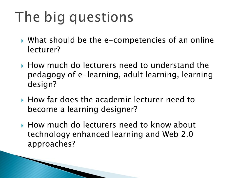  What should be the e-competencies of an online lecturer.