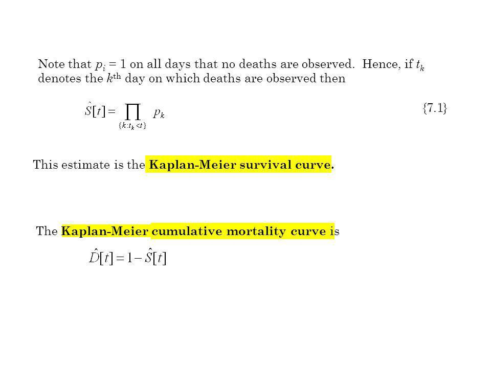 The Kaplan-Meier cumulative mortality curve is Note that p i = 1 on all days that no deaths are observed. Hence, if t k denotes the k th day on which