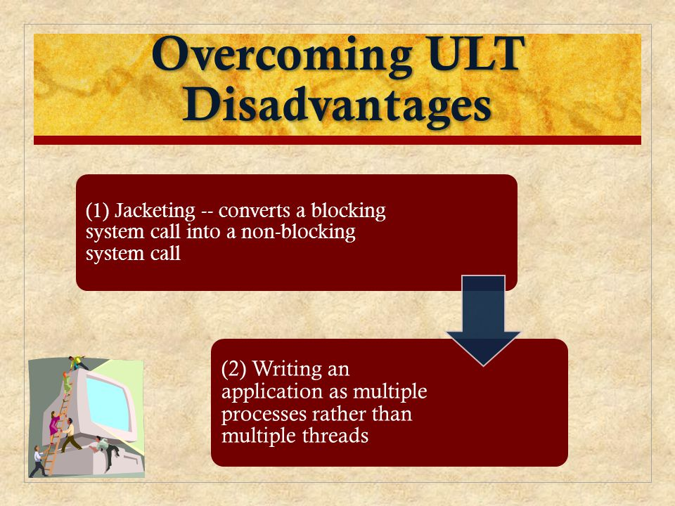 Overcoming ULT Disadvantages (1) Jacketing -- converts a blocking system call into a non-blocking system call (2) Writing an application as multiple p