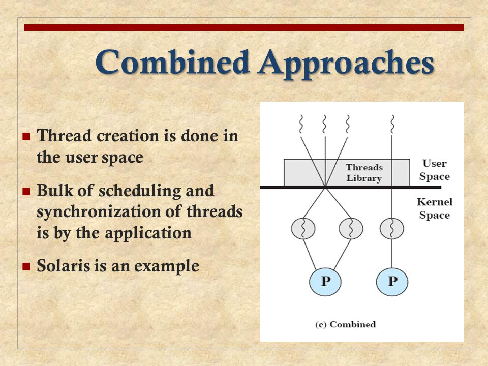 Combined Approaches Thread creation is done in the user space Bulk of scheduling and synchronization of threads is by the application Solaris is an ex