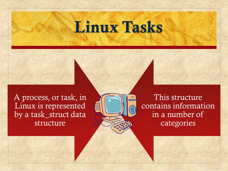 Linux Tasks A process, or task, in Linux is represented by a task_struct data structure This structure contains information in a number of categories