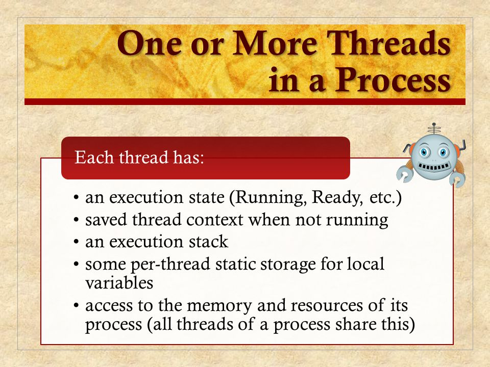 One or More Threads in a Process an execution state (Running, Ready, etc.) saved thread context when not running an execution stack some per-thread st