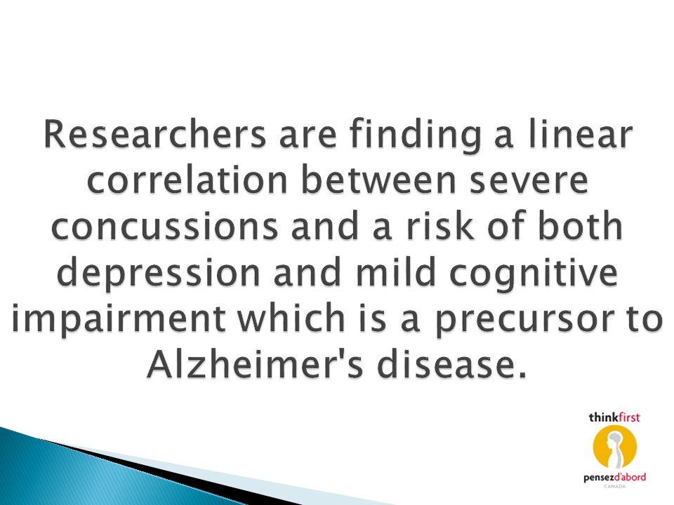 Researchers are finding a linear correlation between severe concussions and a risk of both depression and mild cognitive impairment which is a precurs