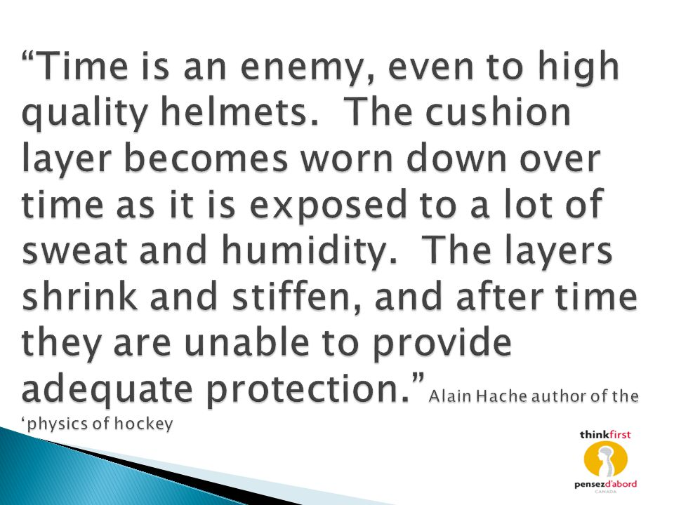"""Time is an enemy, even to high quality helmets. The cushion layer becomes worn down over time as it is exposed to a lot of sweat and humidity. The la"