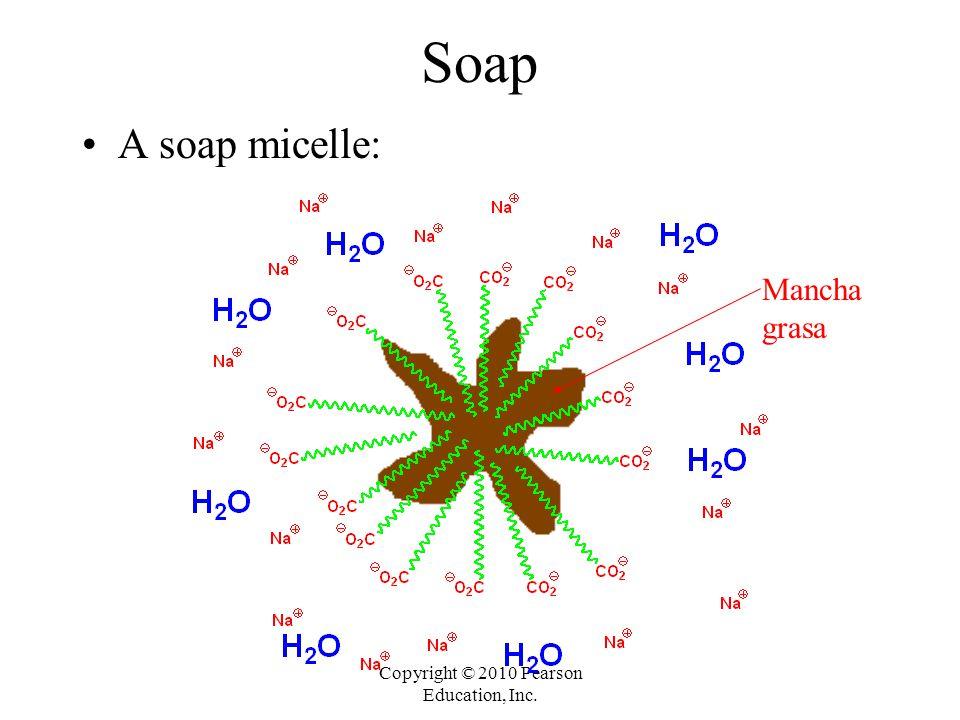 Copyright © 2010 Pearson Education, Inc. Soap A soap micelle: Mancha grasa