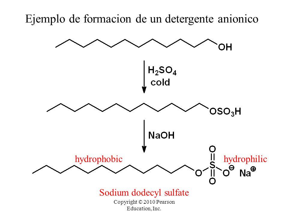Copyright © 2010 Pearson Education, Inc. hydrophilichydrophobic Sodium dodecyl sulfate Ejemplo de formacion de un detergente anionico