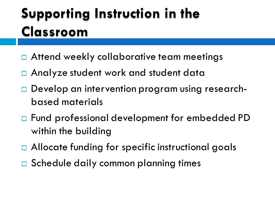 Supporting Instruction in the Classroom  Attend weekly collaborative team meetings  Analyze student work and student data  Develop an intervention