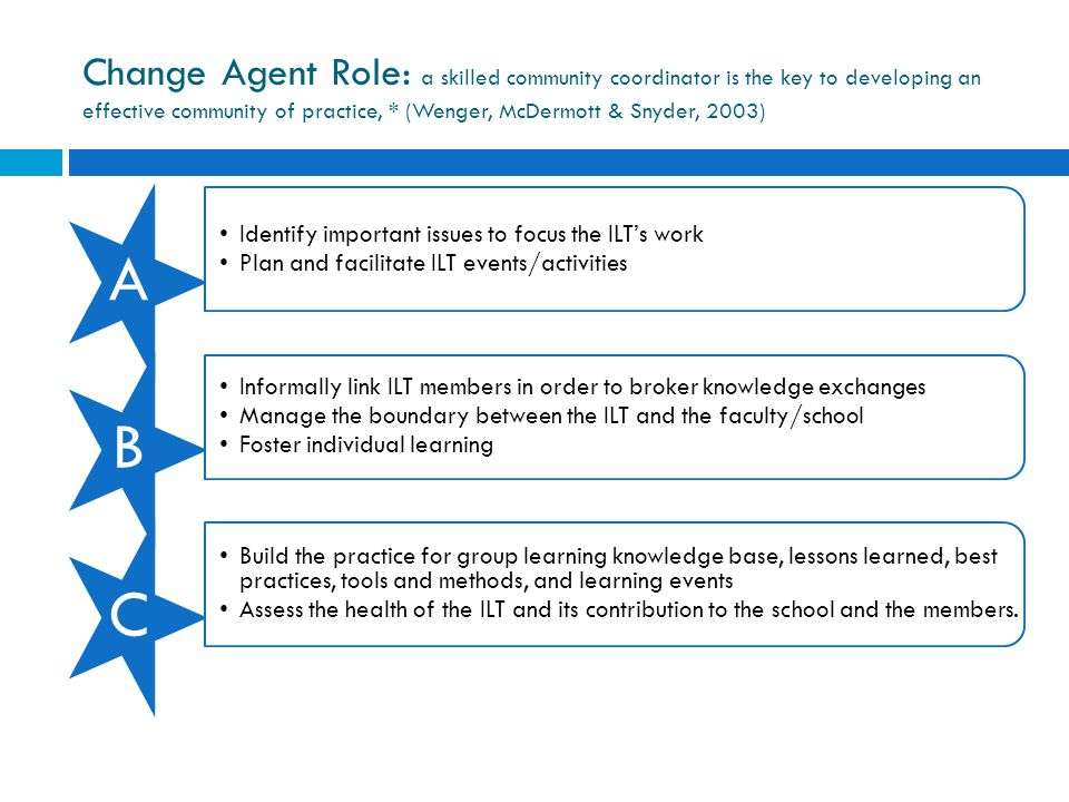 Change Agent Role: a skilled community coordinator is the key to developing an effective community of practice, * (Wenger, McDermott & Snyder, 2003) A