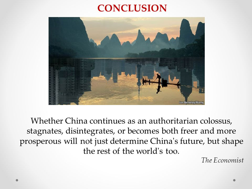 Whether China continues as an authoritarian colossus, stagnates, disintegrates, or becomes both freer and more prosperous will not just determine China s future, but shape the rest of the world s too.