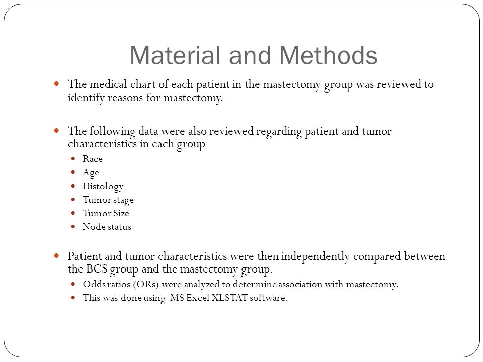 Material and Methods The medical chart of each patient in the mastectomy group was reviewed to identify reasons for mastectomy. The following data wer
