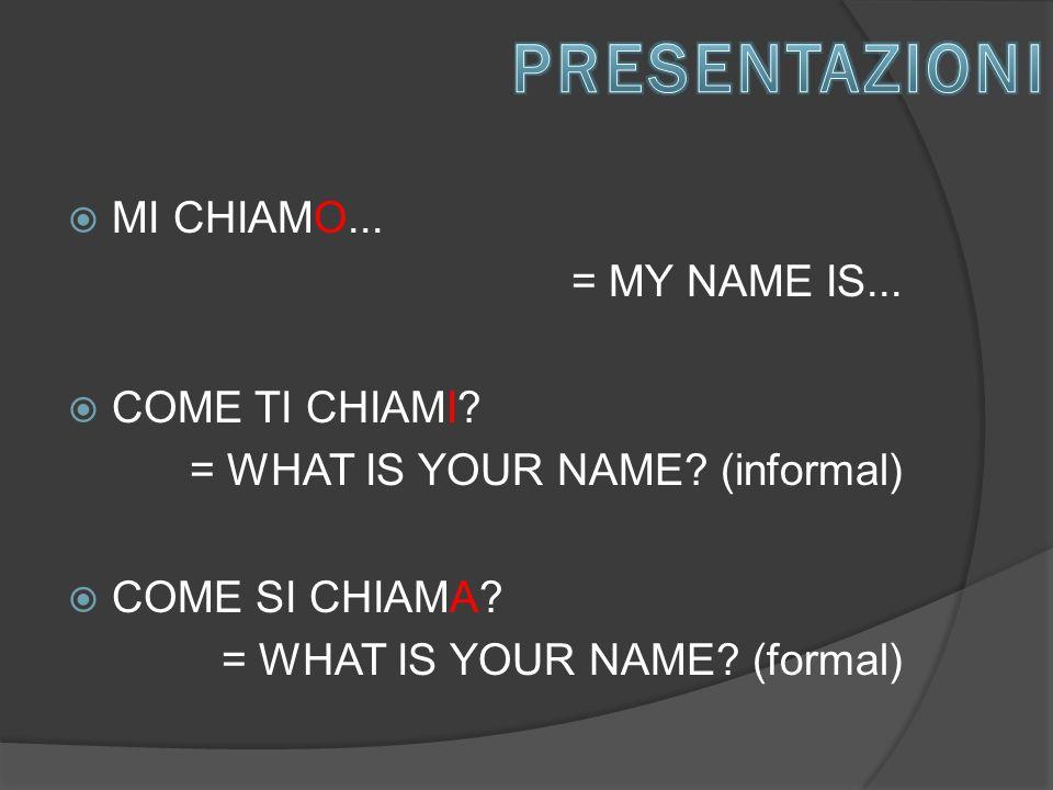  MI CHIAMO... = MY NAME IS...  COME TI CHIAMI.