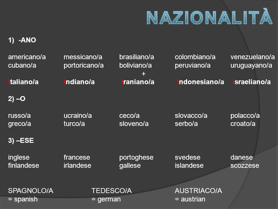 1)-ANO americano/amessicano/abrasiliano/acolombiano/avenezuelano/a cubano/aportoricano/aboliviano/aperuviano/auruguayano/a + Italiano/aIndiano/a Iraniano/a Indonesiano/a Israeliano/a 2) –O russo/aucraino/aceco/aslovacco/apolacco/a greco/aturco/asloveno/aserbo/acroato/a 3) –ESE inglesefranceseportoghesesvedesedanese finlandeseirlandesegalleseislandesescozzese SPAGNOLO/A TEDESCO/AAUSTRIACO/A = spanish= german= austrian