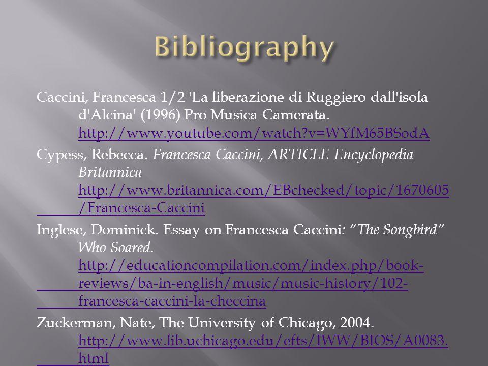 Caccini, Francesca 1/2 La liberazione di Ruggiero dall isola d Alcina (1996) Pro Musica Camerata.
