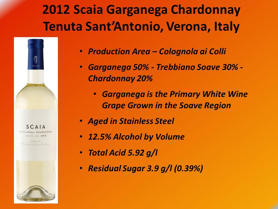 2012 Scaia Garganega Chardonnay Tenuta Sant'Antonio, Verona, Italy Production Area – Colognola ai Colli Garganega 50% - Trebbiano Soave 30% - Chardonn