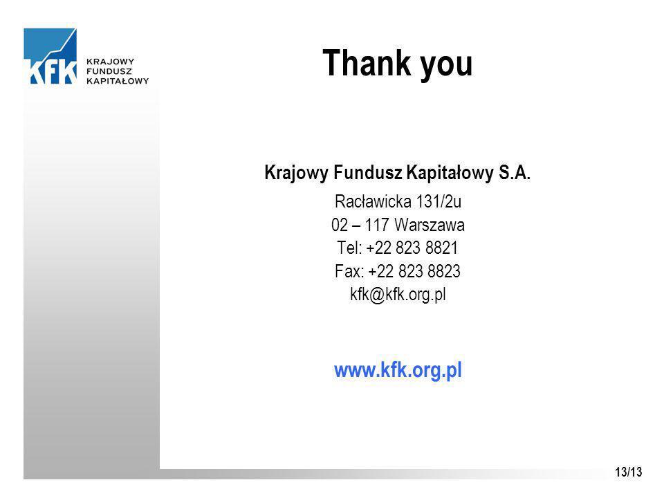 13/13 Thank you Krajowy Fundusz Kapitałowy S.A.