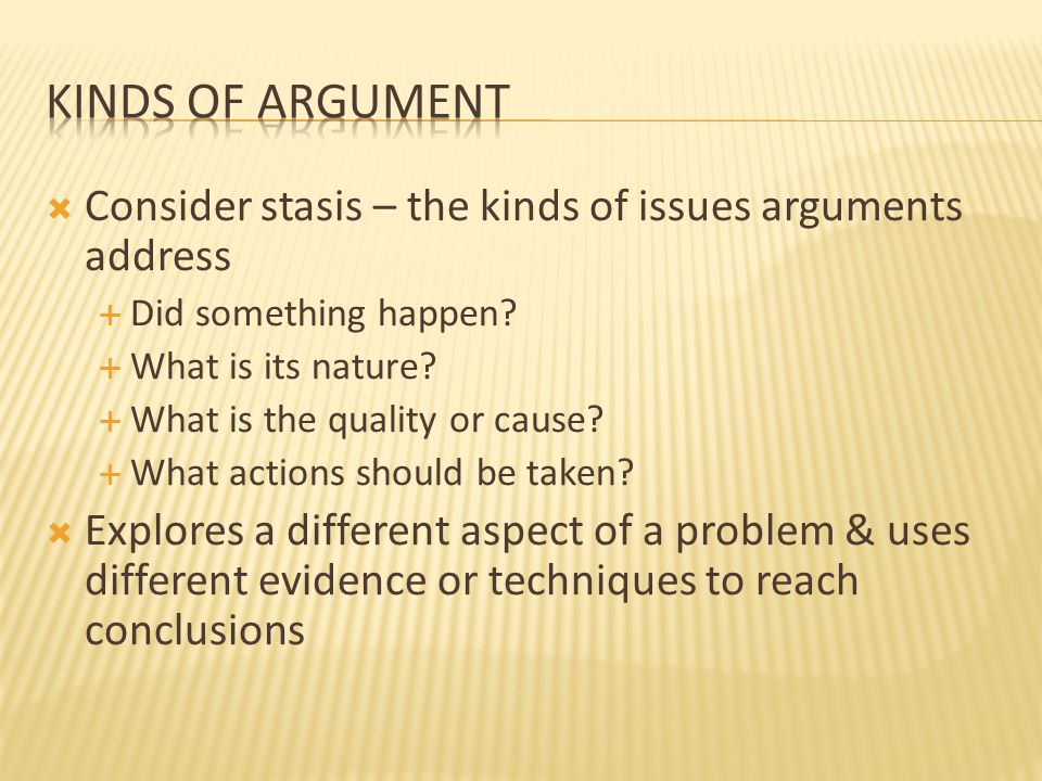  Consider stasis – the kinds of issues arguments address  Did something happen.