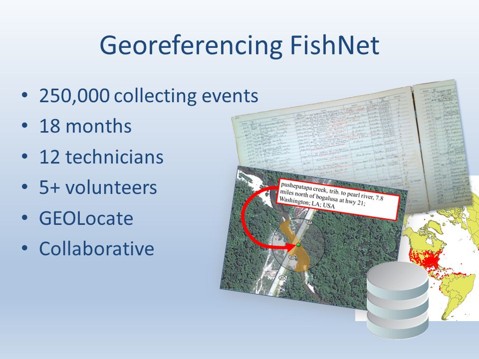 Georeferencing FishNet 250,000 collecting events 18 months 12 technicians 5+ volunteers GEOLocate Collaborative