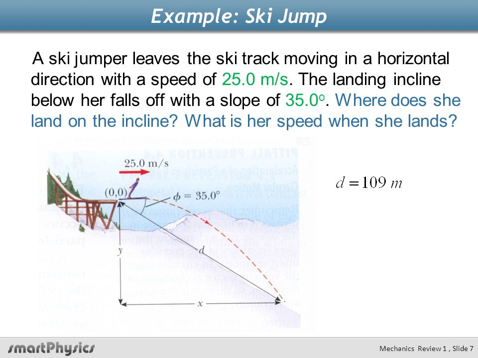 Example: Ski Jump A ski jumper leaves the ski track moving in a horizontal direction with a speed of 25.0 m/s. The landing incline below her falls off
