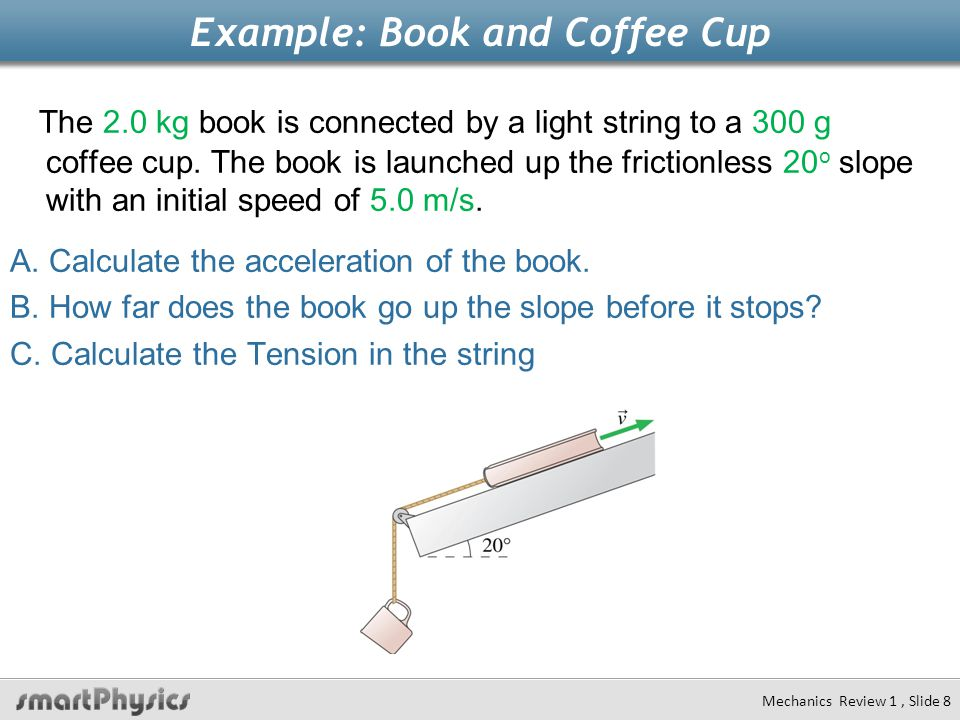 Example: Book and Coffee Cup The 2.0 kg book is connected by a light string to a 300 g coffee cup. The book is launched up the frictionless 20 o slope
