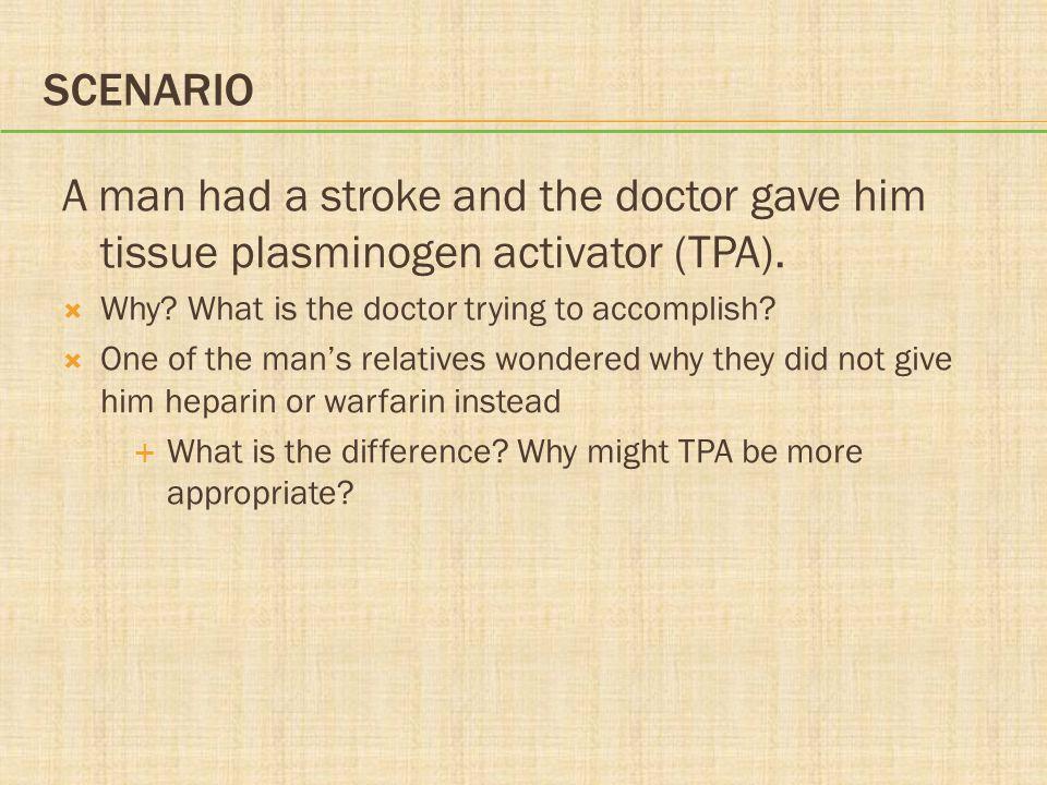 SCENARIO A man had a stroke and the doctor gave him tissue plasminogen activator (TPA).