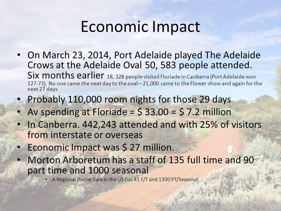 Economic Impact On March 23, 2014, Port Adelaide played The Adelaide Crows at the Adelaide Oval 50, 583 people attended. Six months earlier 18, 328 pe