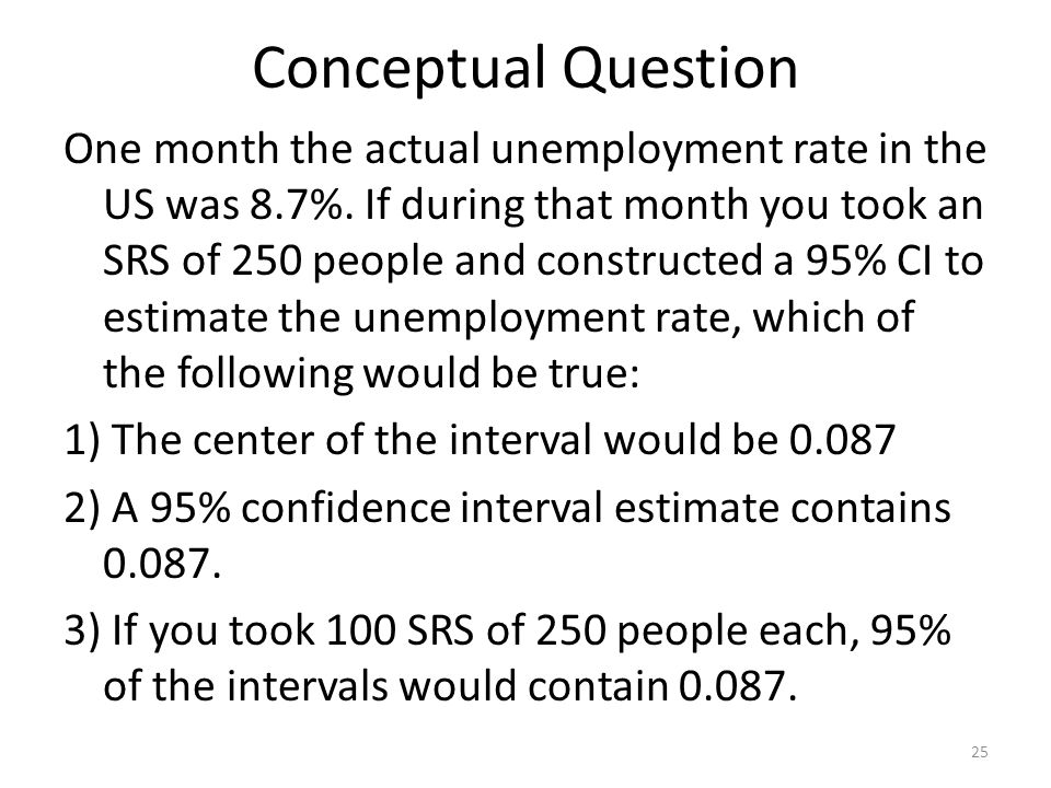 Conceptual Question One month the actual unemployment rate in the US was 8.7%.