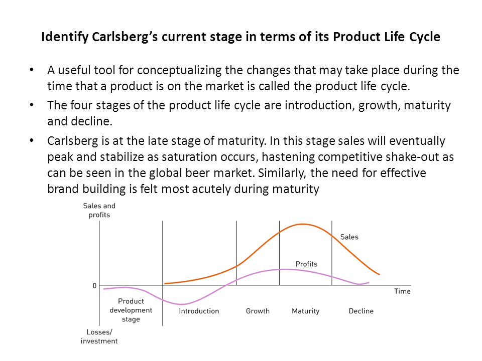Identify Carlsberg's current stage in terms of its Product Life Cycle A useful tool for conceptualizing the changes that may take place during the tim