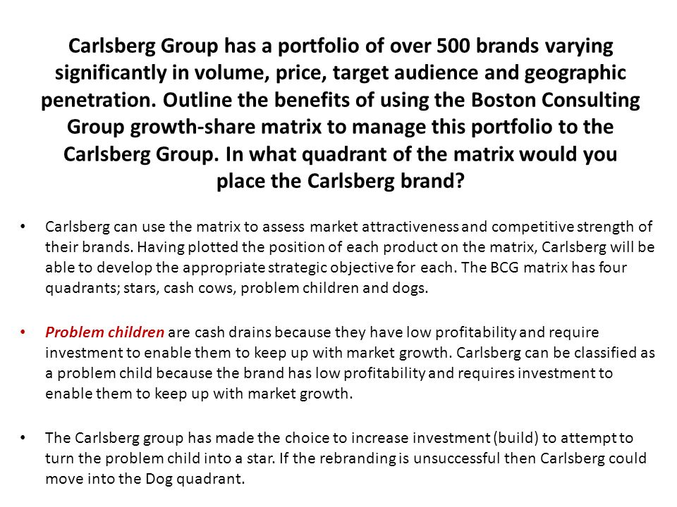 Carlsberg Group has a portfolio of over 500 brands varying significantly in volume, price, target audience and geographic penetration. Outline the ben