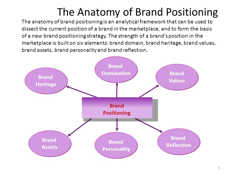 5 The Anatomy of Brand Positioning Brand Domination Brand Values Brand Heritage Brand Assets Brand Personality Brand Reflection Brand Positioning The