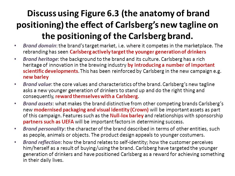 Discuss using Figure 6.3 (the anatomy of brand positioning) the effect of Carlsberg's new tagline on the positioning of the Carlsberg brand. Brand dom