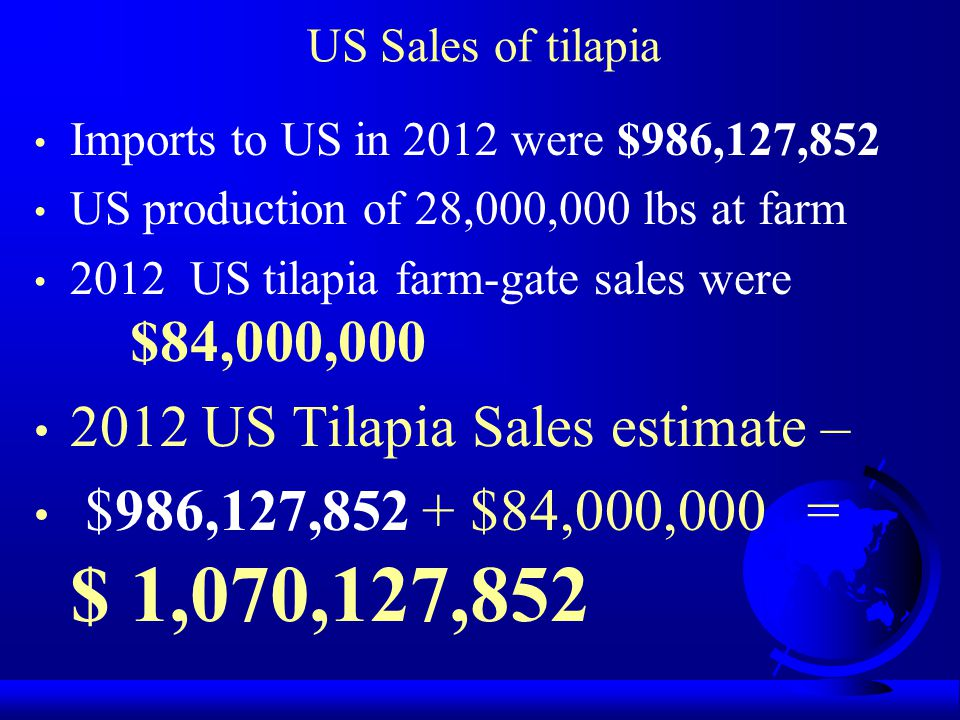Imports to US in 2012 were $986,127,852 US production of 28,000,000 lbs at farm 2012 US tilapia farm-gate sales were $84,000,000 2012 US Tilapia Sales estimate – $986,127,852 + $84,000,000 = $ 1,070,127,852 US Sales of tilapia