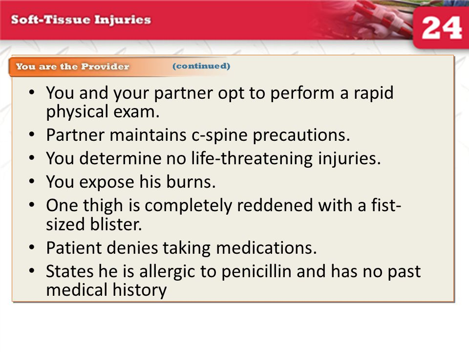 Review Answer: D Rationale: Critical burns include the following: partial- and full-thickness burns involving the hands, feet, face, airway, or genitalia; full-thickness burns covering more than 10% of the body surface area; burns involving the respiratory tract (ie, smoke inhalation); burns complicated by fractures; and burns on patients younger than 5 years or older than 55 years that would otherwise be classified as moderate burns on younger adults.
