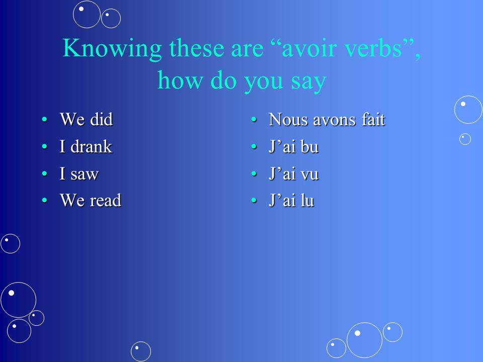 "Knowing these are ""avoir verbs"", how do you say We didWe did I drankI drank I sawI saw We readWe read Nous avons fait J'ai bu J'ai vu J'ai lu"