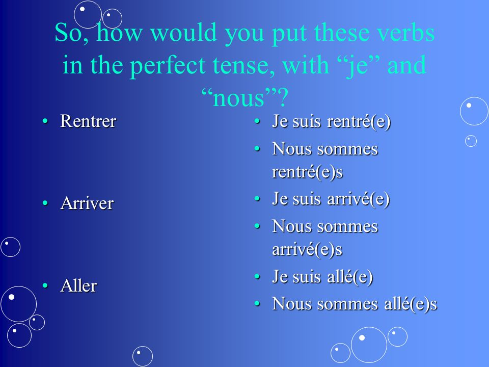 "So, how would you put these verbs in the perfect tense, with ""je"" and ""nous""? RentrerRentrer ArriverArriver AllerAller Je suis rentré(e) Nous sommes r"