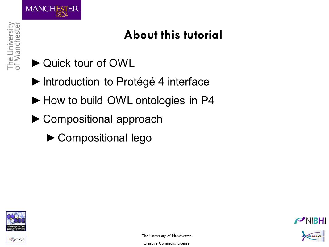 The University of Manchester Creative Commons License About this tutorial ►Quick tour of OWL ►Introduction to Protégé 4 interface ►How to build OWL on
