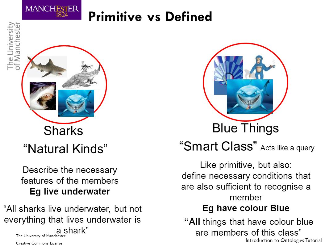 "Introduction to Ontologies Tutorial The University of Manchester Creative Commons License Primitive vs Defined Blue Things Sharks ""Smart Class"" Acts l"