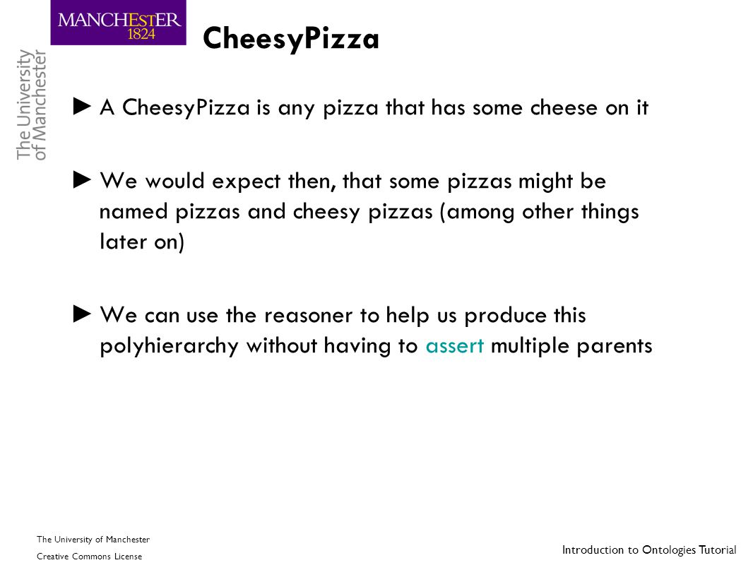 Introduction to Ontologies Tutorial The University of Manchester Creative Commons License CheesyPizza ► A CheesyPizza is any pizza that has some chees