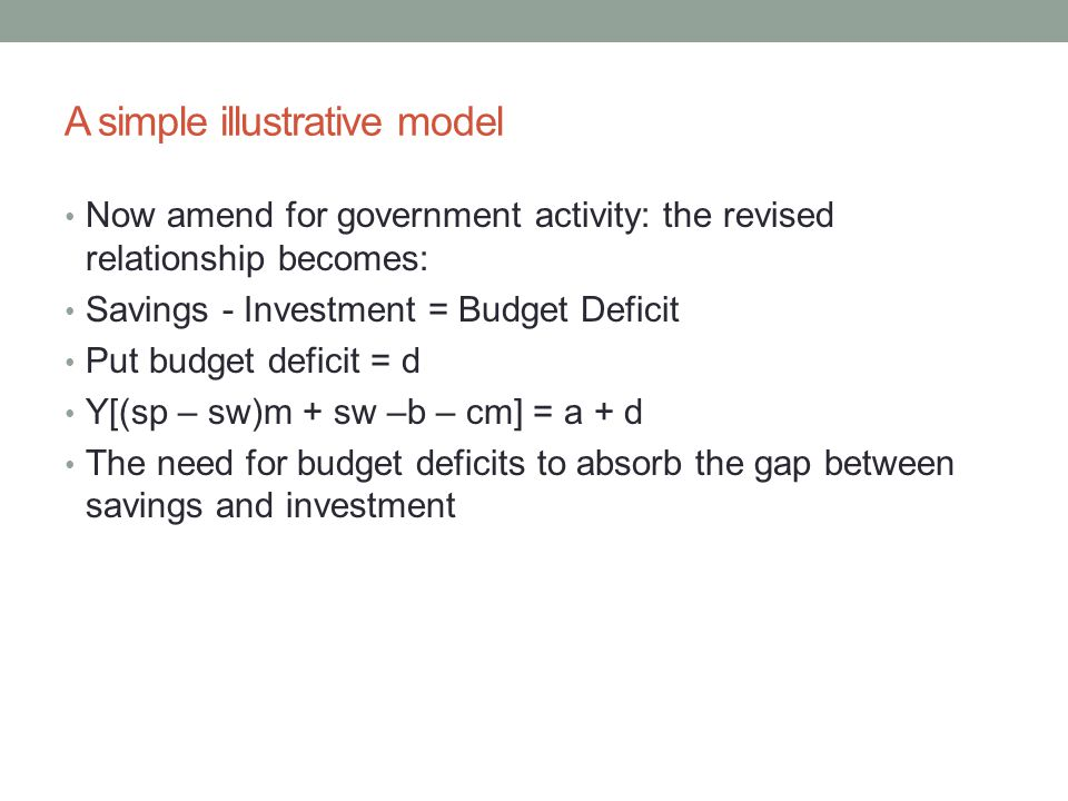 A simple illustrative model Now amend for government activity: the revised relationship becomes: Savings - Investment = Budget Deficit Put budget defi
