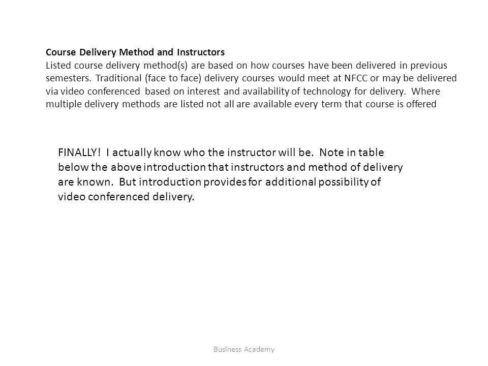 Course Delivery Method and Instructors Listed course delivery method(s) are based on how courses have been delivered in previous semesters.