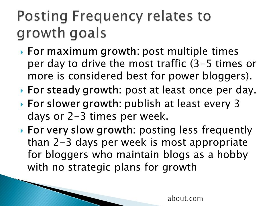  For maximum growth: post multiple times per day to drive the most traffic (3-5 times or more is considered best for power bloggers).