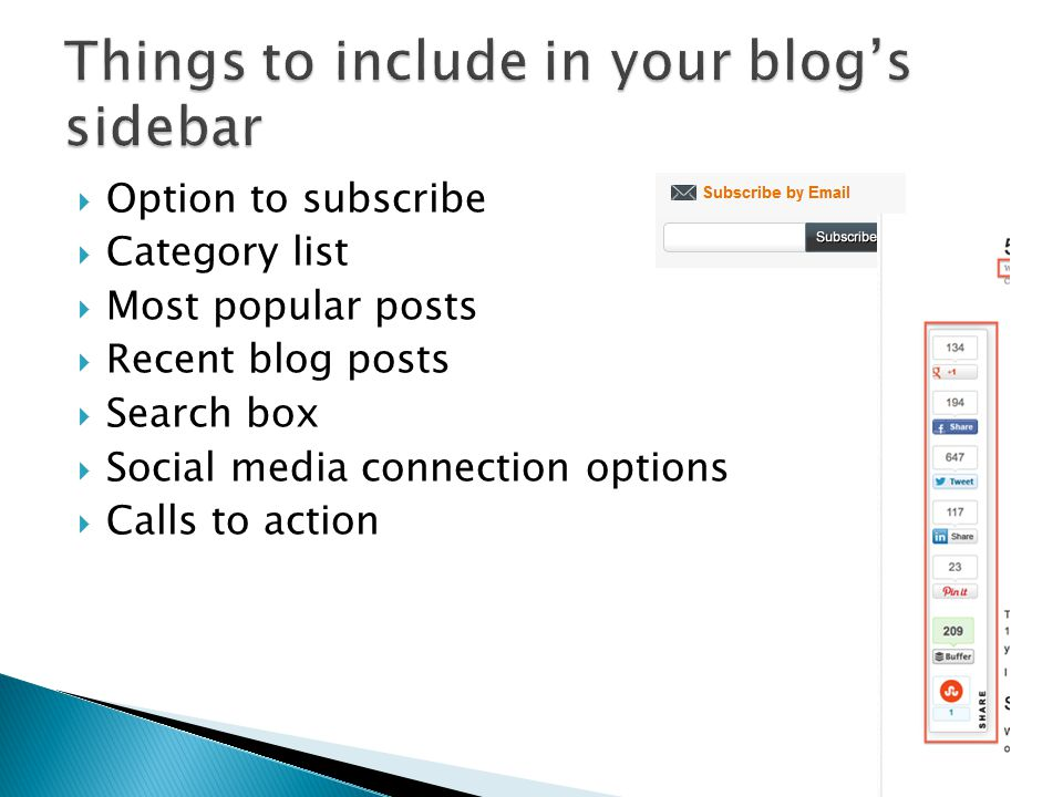  Option to subscribe  Category list  Most popular posts  Recent blog posts  Search box  Social media connection options  Calls to action