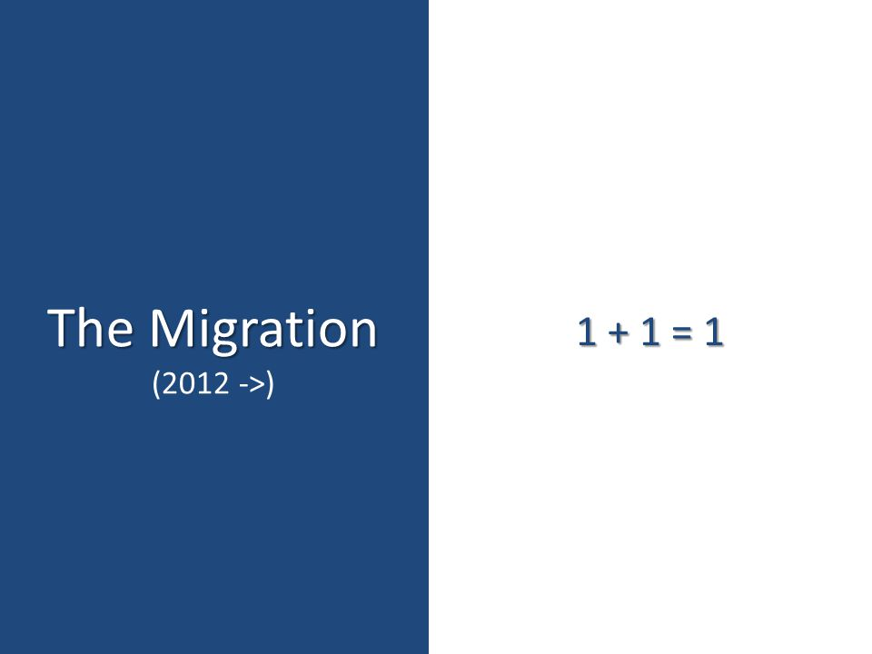 The Migration (2012 ->) 1 + 1 = 1