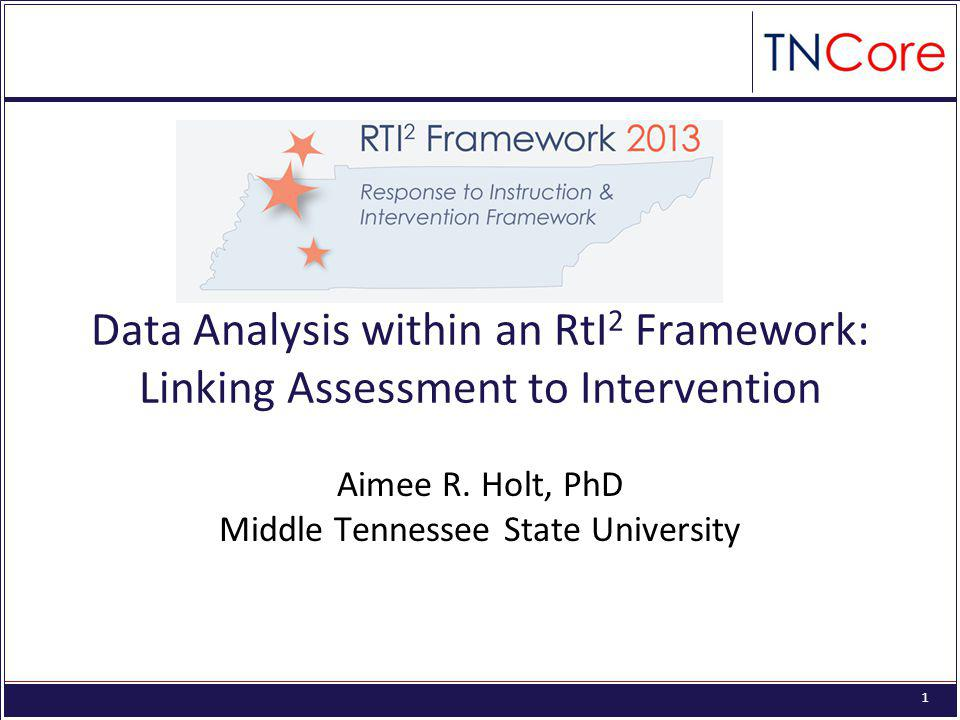 1 Data Analysis within an RtI 2 Framework: Linking Assessment to Intervention Aimee R.