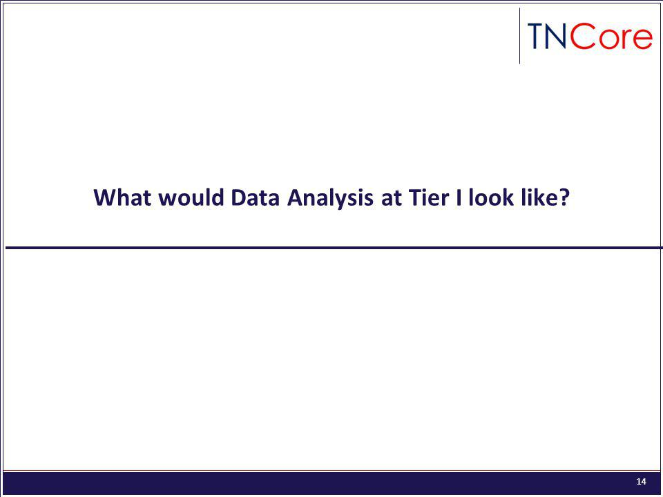 14 What would Data Analysis at Tier I look like?