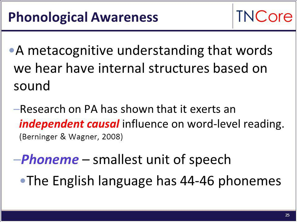 25 Phonological Awareness A metacognitive understanding that words we hear have internal structures based on sound –Research on PA has shown that it exerts an independent causal influence on word-level reading.