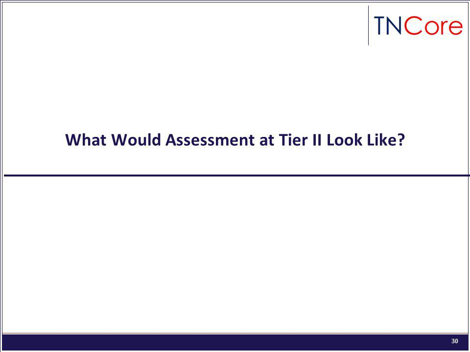 30 What Would Assessment at Tier II Look Like?