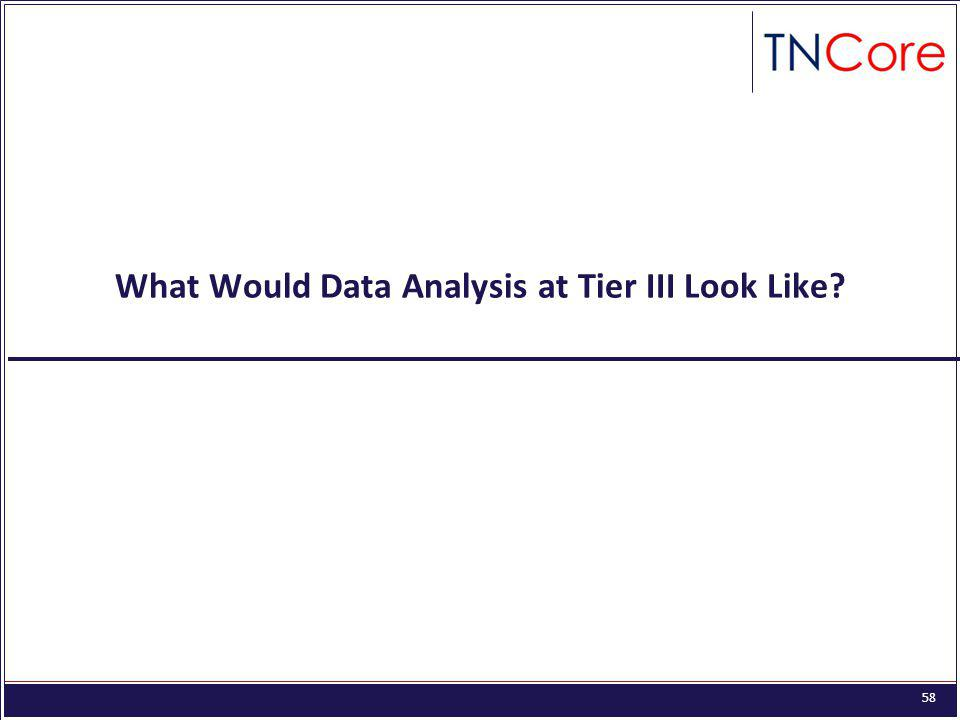 58 What Would Data Analysis at Tier III Look Like?