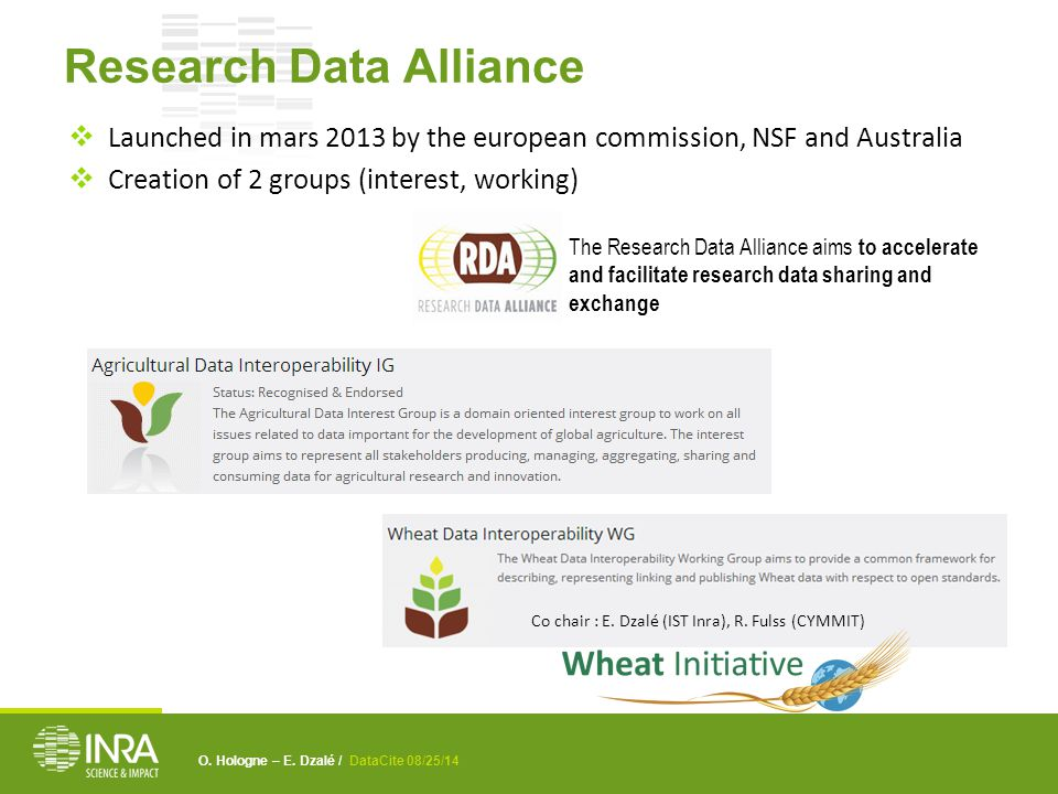 O. Hologne – E. Dzalé / DataCite 08/25/14 Research Data Alliance  Launched in mars 2013 by the european commission, NSF and Australia  Creation of 2